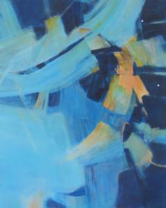 *Louise Gray, Mustard blue 30x24